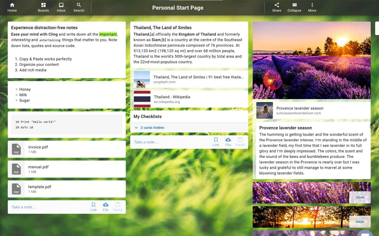 Notes app, bookmark manager, task management, photos and files in one place.
